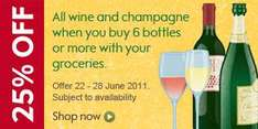 25% Off All Wine & Champagne when you buy 6 bottles or more @ Waitrose