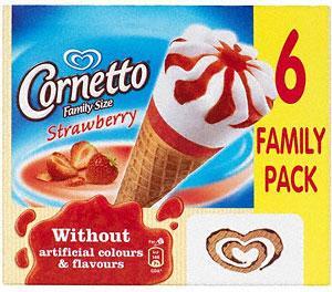 Cornetto 6 family size classico/ strawberry 97p @ Waitrose