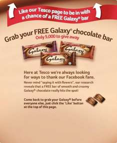 Free bar of 200gm Galaxy Chocolate at Tesco on 1st July
