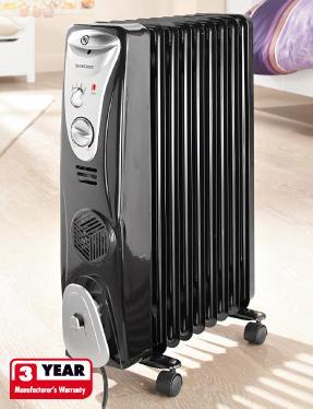 Oil Filled 2500 Watt Radiator With Built In Fan Heater 163 39
