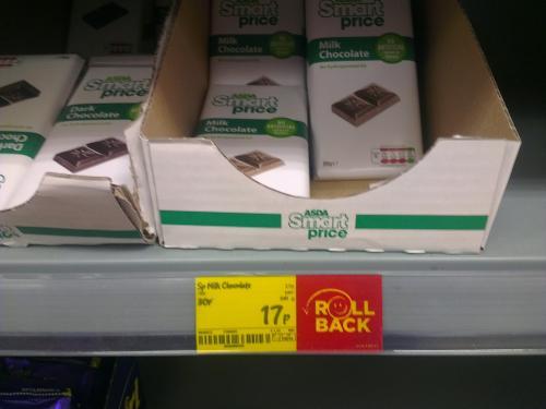 Asda smart price milk chocolate 100g 17p hotukdeals for Smart price