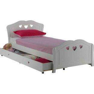 Ashley heart girls white single bed frame with silentnight for Bed frame and mattress deals
