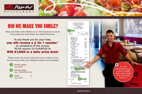 Pizza hut 2 for 1 survey