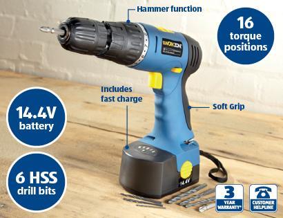 aldi 14 4v cordless hammer drill c w 1500mah ni cd battery. Black Bedroom Furniture Sets. Home Design Ideas