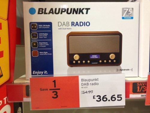 blaupunkt dab radio 1 3rd off in sainsburys. Black Bedroom Furniture Sets. Home Design Ideas