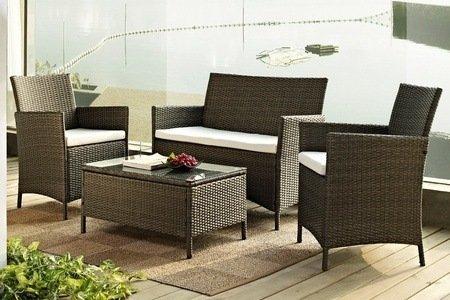 Rattan effect garden furniture set in black or brown for for Garden furniture set deals