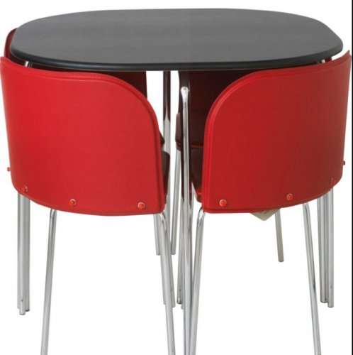 Hygena Amparo Black Dining Table And 4 Red Chairs. 144