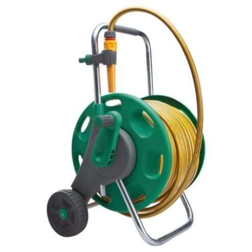 hose reel cart hozelock hose reel cart with 50m hose tesco direct 163 25 10858