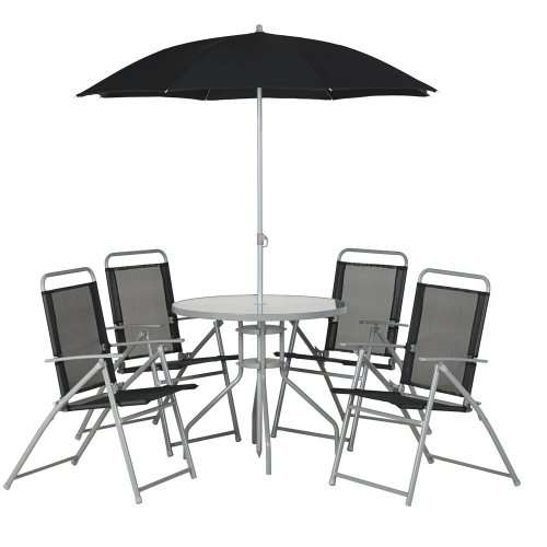 Wilko garden furniture black 6 piece round patio set for Garden furniture set deals