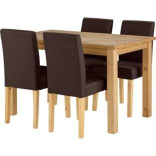 Madison oak stain dining table and 4 chocolate chairs for Dining table set deals