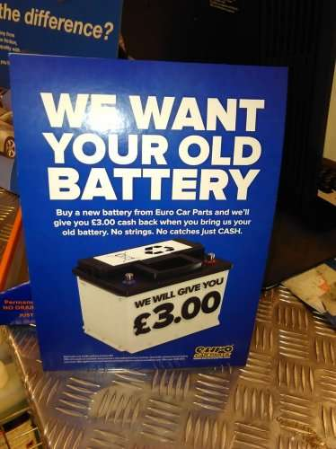 Free Cash £3 for Disposing your Used / Faulty / Damaged Battery at Cash For Batteries on