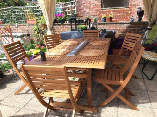 Bu0026Q Aland Extendable Wooden Garden Table £88 Clearance, Pair Matching  Chairs £22   HotUKDeals