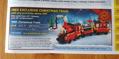 Free Exclusive Lego Christmas Train Set (40138) With Purchases of ...