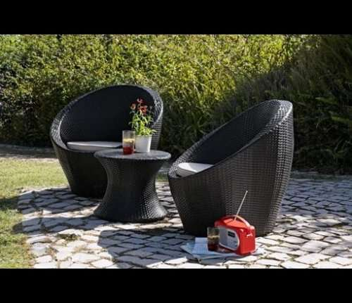 2 Seater Rattan Effect Egg Patio Furniture Set 163 149 99