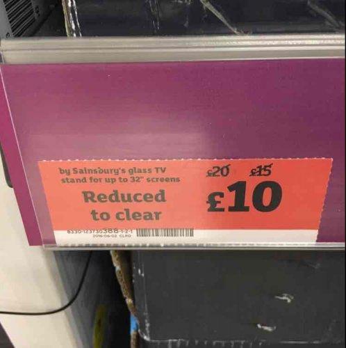 "Sainsburys black glass tv stand up to 32"" £10 @ sainsburys in Arnold Nottingham - HotUKDeals"
