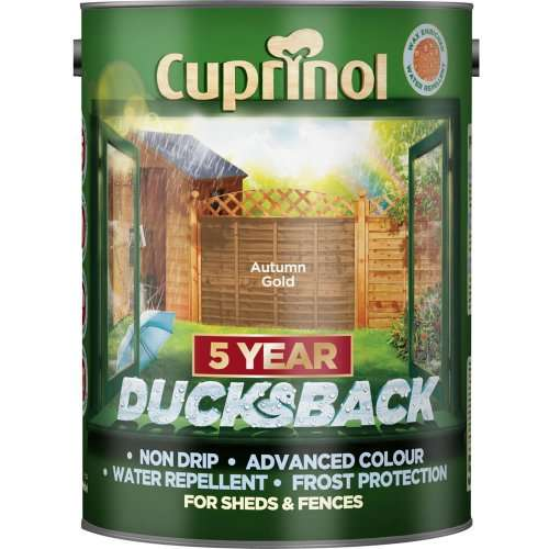 cuprinol 5 year ducksback shed fence paint 5 litres in. Black Bedroom Furniture Sets. Home Design Ideas
