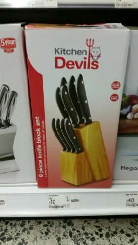 kitchen devils 9 piece knife set with block was 30 now