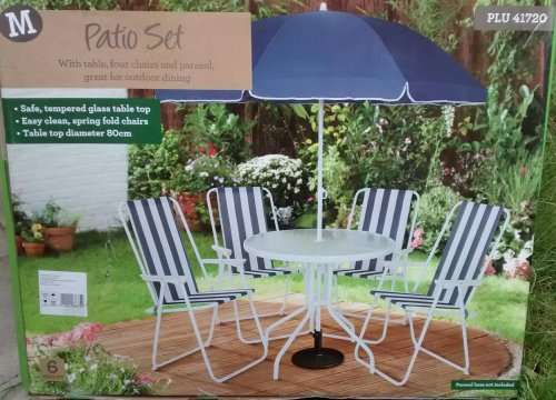 Cheap 4 Chair Garden Patio Set With Parasol 163 20