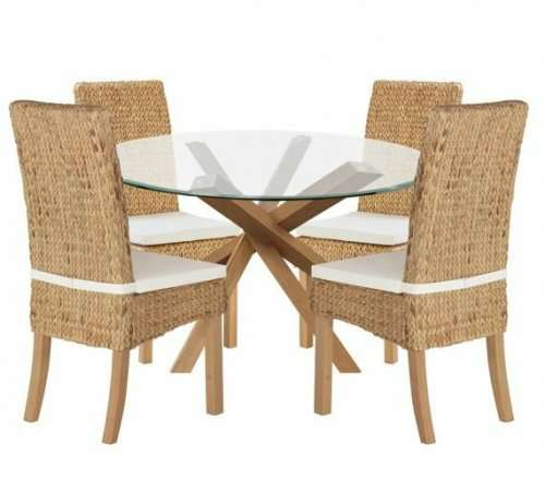 Best Deals On Dining Table And Chairs: Home Of Style Abbotsley Dining Table & 4 Rattan Chairs £