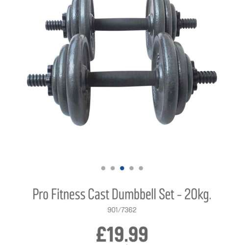 20kg Cast Dumbell Set For 163 19 99 Argos Hotukdeals