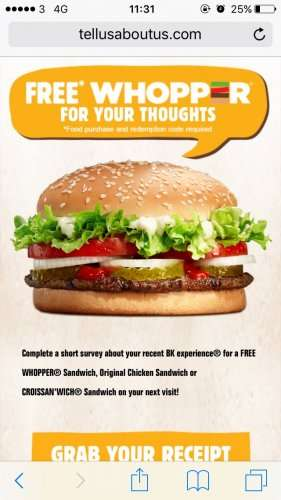 Free Burger King Whopper when you fill in the receipt survey