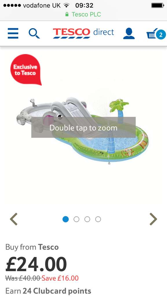 Elephant paddling pool play centre 24 tesco direct for Paddling pools deals