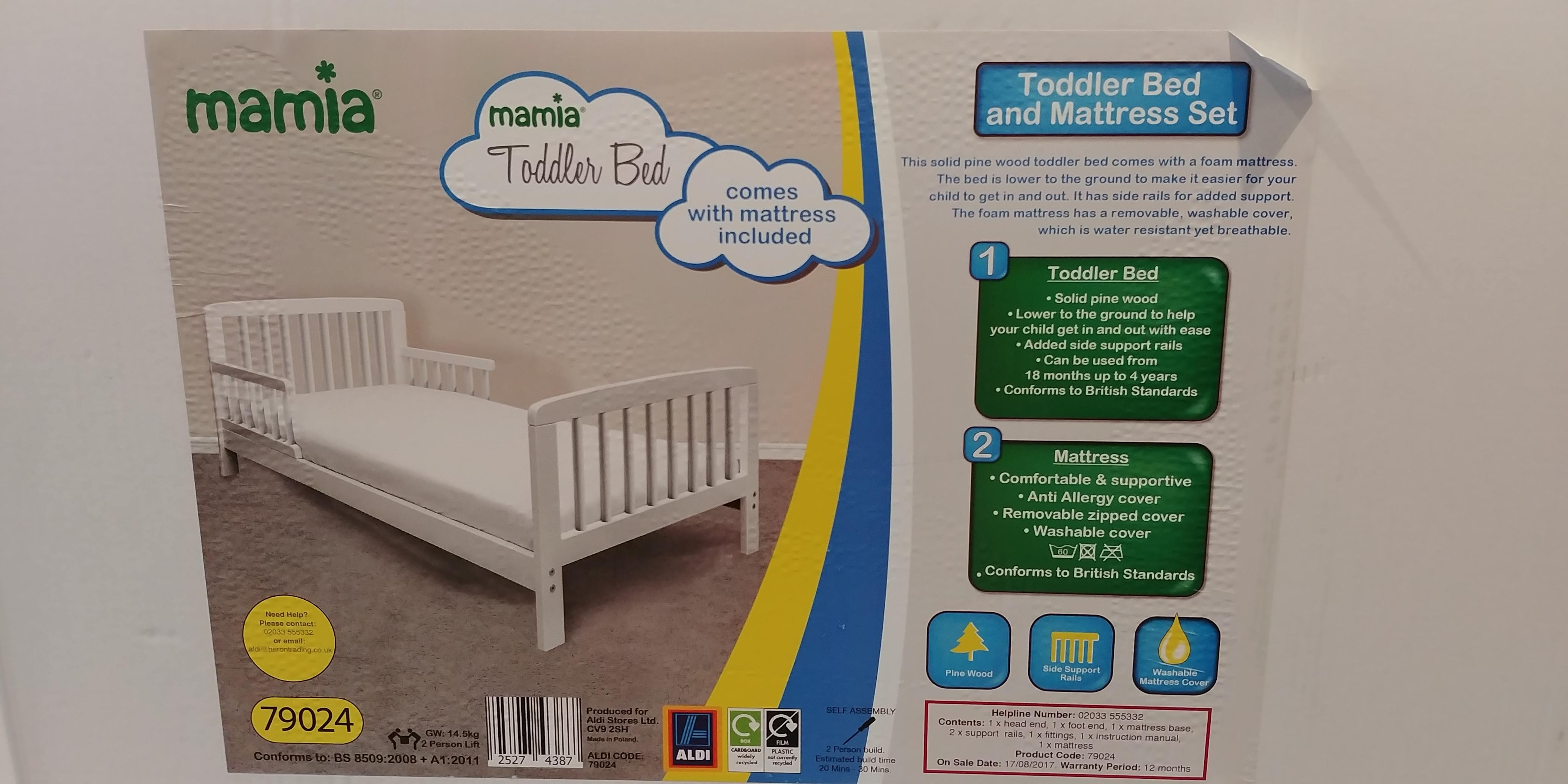 Mamia Toddler Bed With Mattress Set Bundle 163 69 99 Aldi