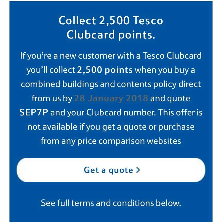 2500 Clubcard Points when taking out Home Insurance @ Tesco