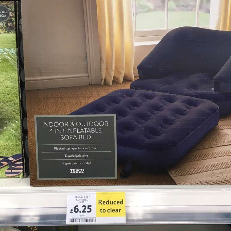 4 in1 inflatable sofa bed reduced to tesco in store. Black Bedroom Furniture Sets. Home Design Ideas