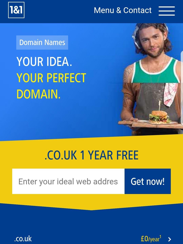 .co.uk 1 Year Free Domain @ 1&1 Internet - HotUKDeals