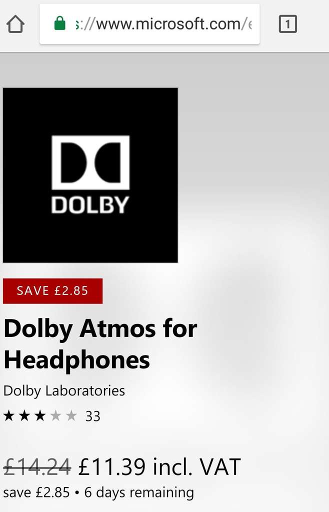 Save 20% on Dolby Atmos for Headphones Xbox One / Windows £11 39