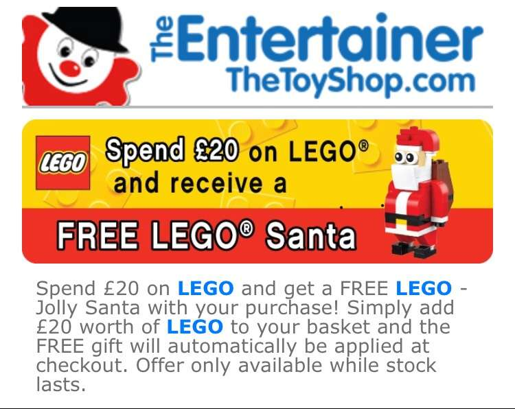 Spend £20 on LEGO get free LEGO Santa at the Entertainer - HotUKDeals