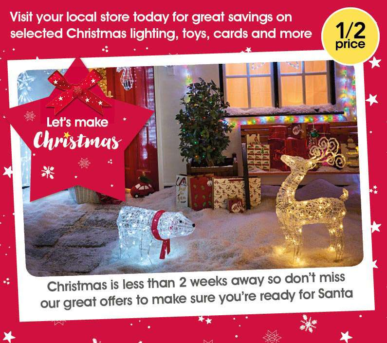 Half Price Christmas Decorations,Lights, Christmas Cards