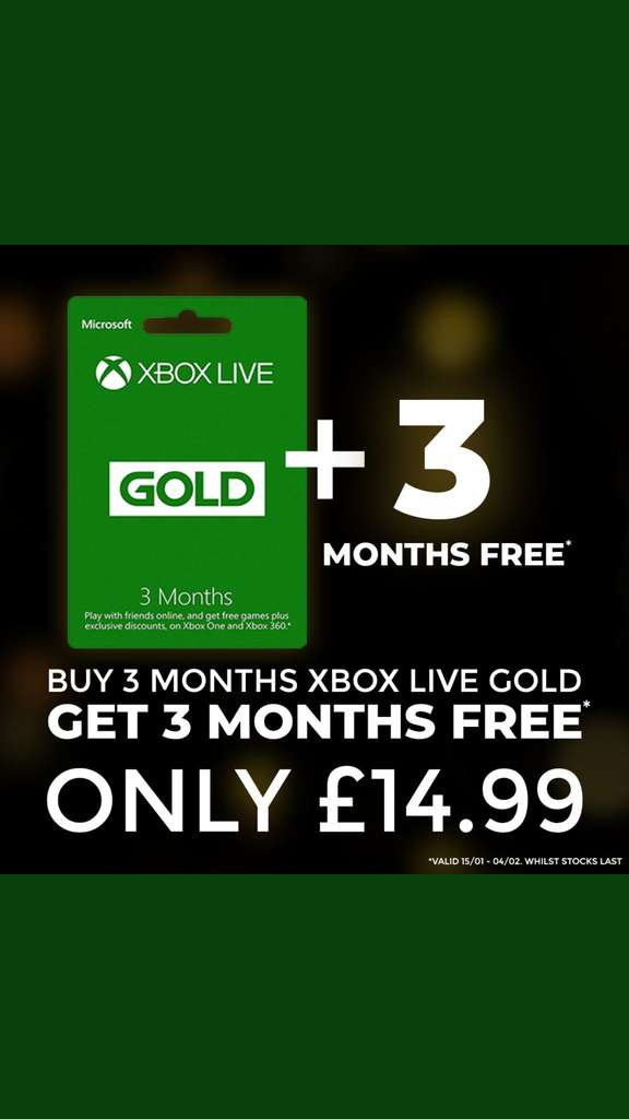 6 months xbox live 1499 game in store hotukdeals fandeluxe Images