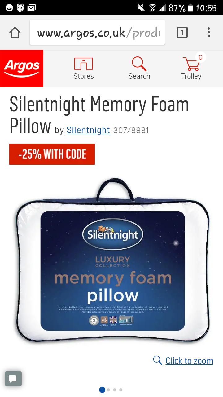 silent night memory foam pillow at argos hotukdeals. Black Bedroom Furniture Sets. Home Design Ideas