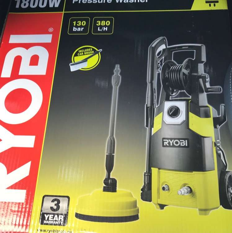 ryobi 1800w 130bar pressure washer with home kit. Black Bedroom Furniture Sets. Home Design Ideas
