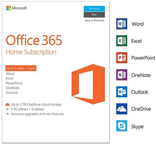 microsoft office 365 home for 5 users inc 5 pc mac installs down to rrp on. Black Bedroom Furniture Sets. Home Design Ideas