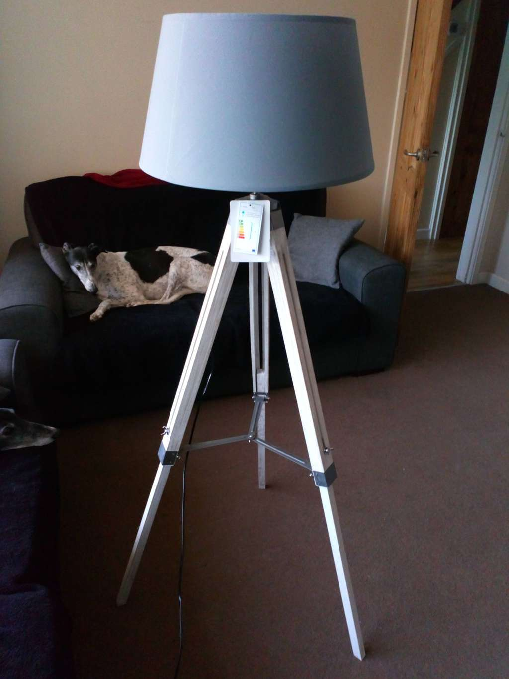 Grey tripod floor lamp 2699 in store at home bargains hotukdeals solutioingenieria Choice Image