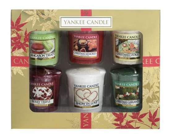 yankee candle christmas six votive candles gift set. Black Bedroom Furniture Sets. Home Design Ideas