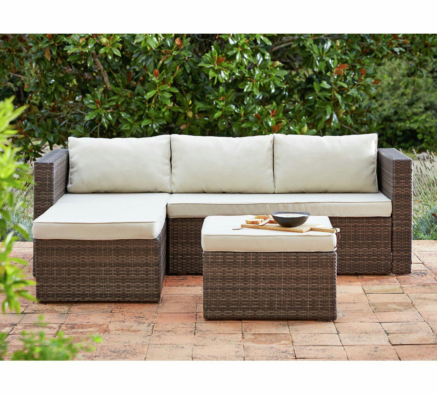 Aldi Corner Rattan Effect Sofa Cover: HOME 3 Seater Rattan Effect Mini Corner Sofa 20%OFF £199