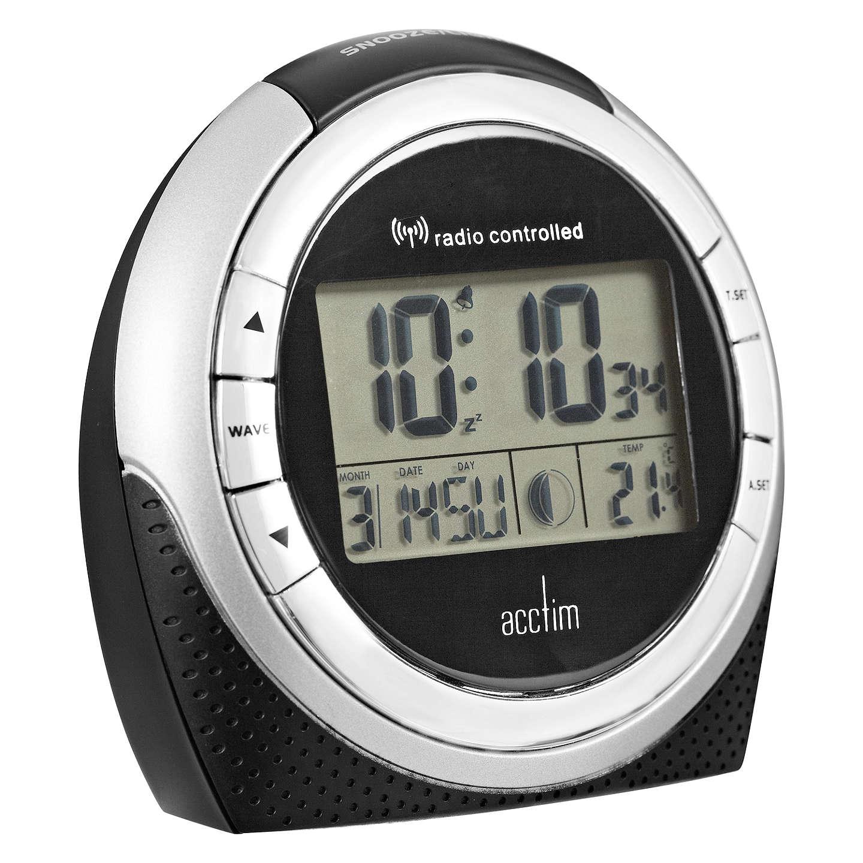 Acctim Zenith Radio Controlled Lcd Alarm Clock Black 840 John