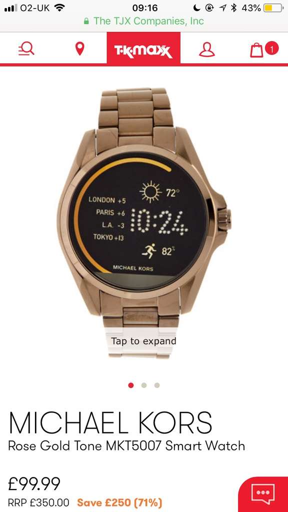 503c359b70d3 Michael Kors Rose Gold Tone MKT5007 Smart Watch £99.99 at TK Maxx (also  available in Purple) - hotukdeals