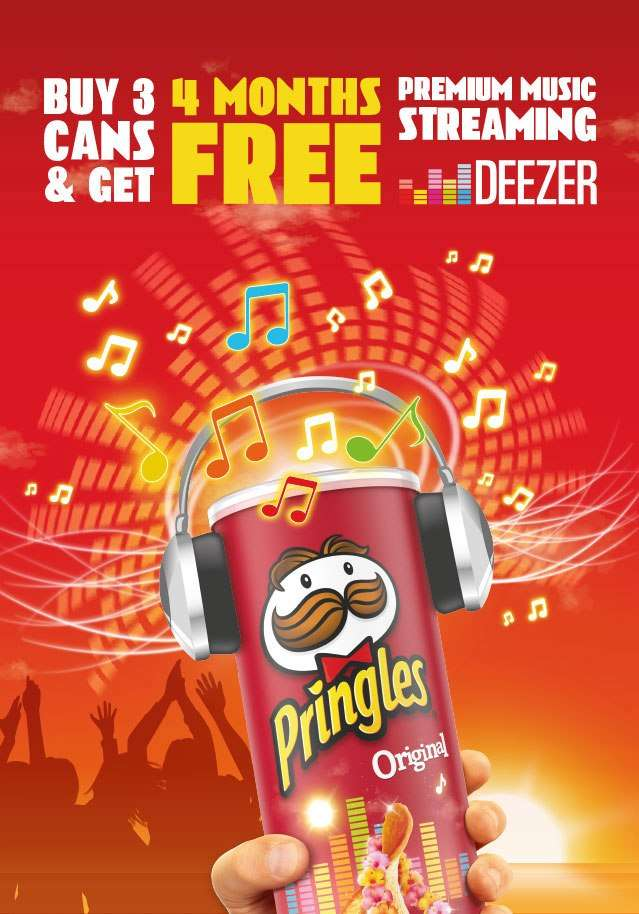 Get 4 Months Free Deezer with 3 Packs of Pringles (£1 25