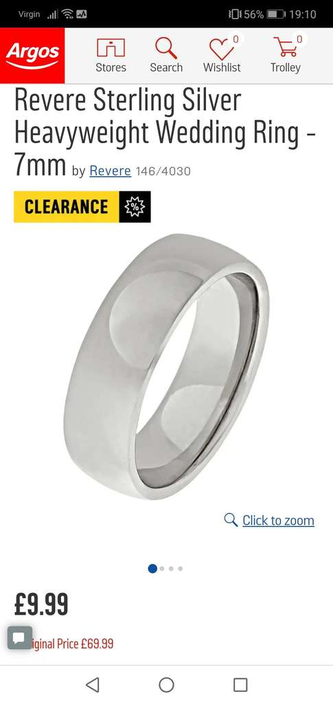 Argos Clearance Jewellery Instore Only Wedding Bands From 899
