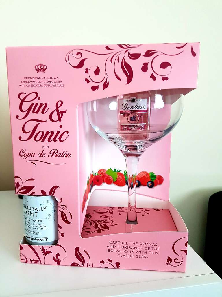 Gordons 5cl Pink Gin Large Gin Glass Bottle Of Tonic Water 4 99