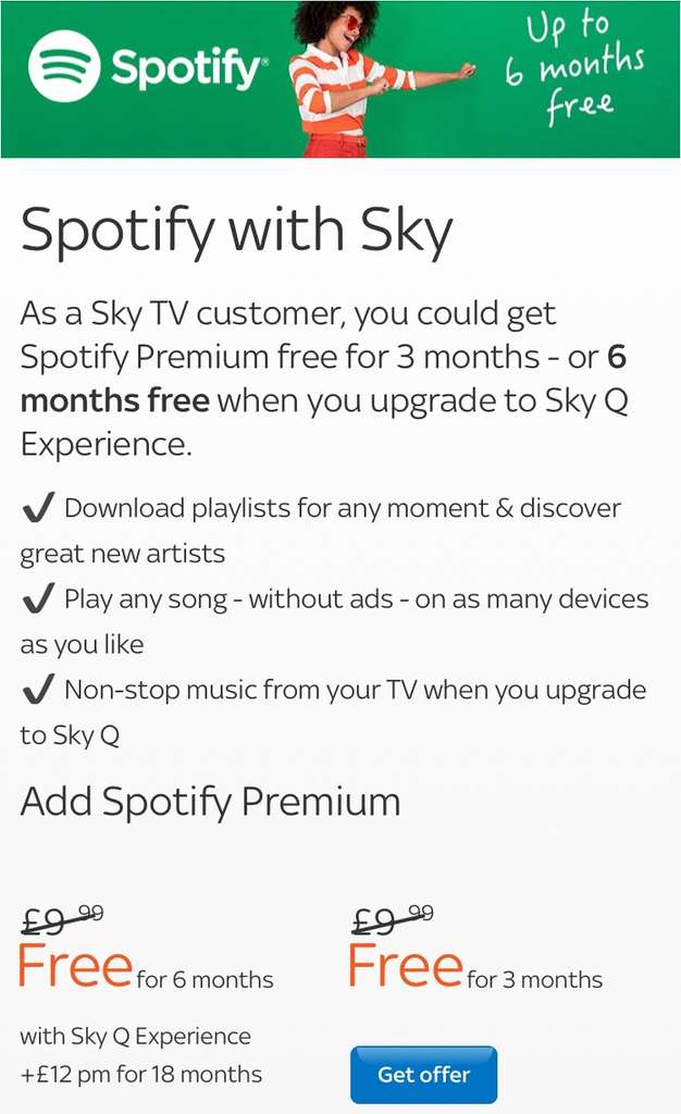 Spotify Premium 3 months free (Sky TV customers) Free for 3 months