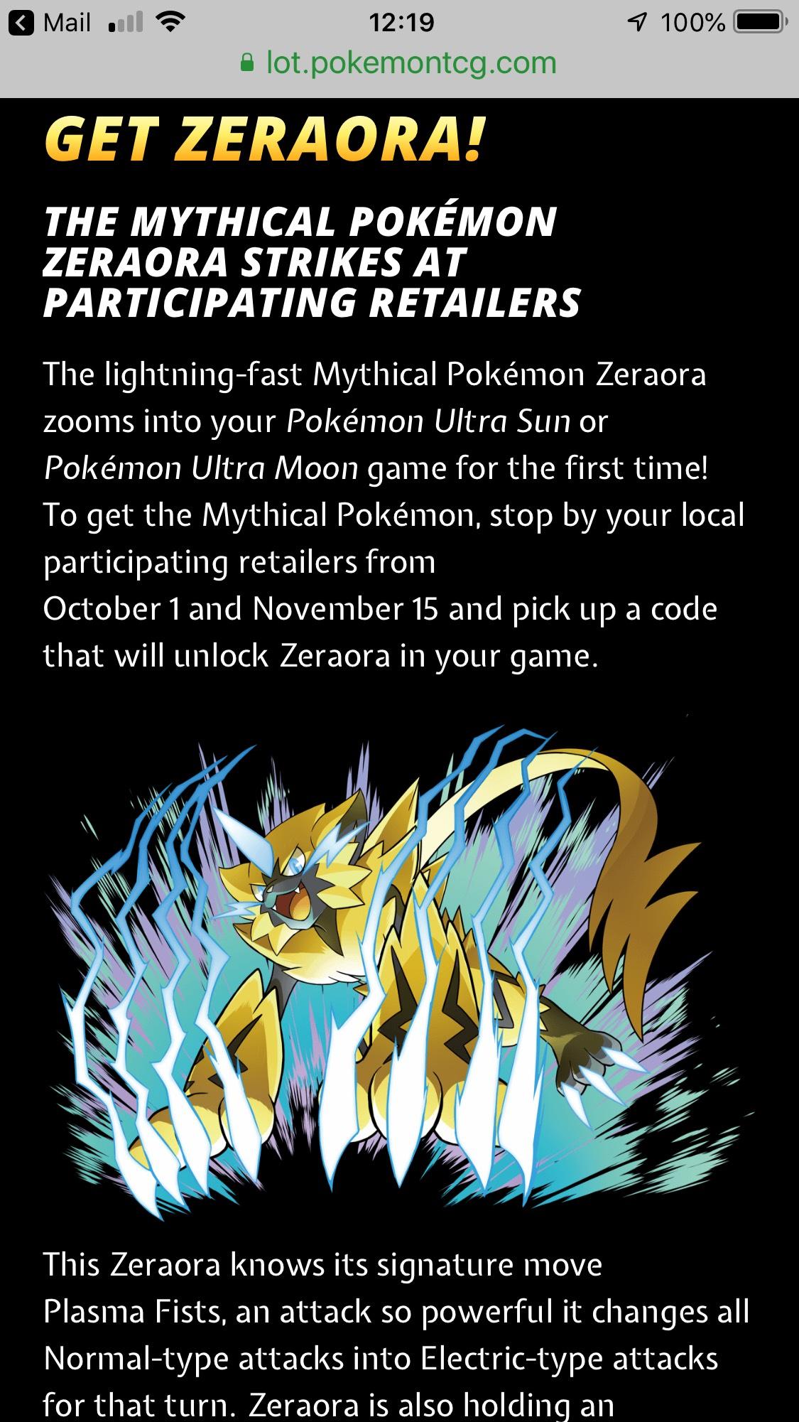Free mythical Pokemon zeraora - hotukdeals