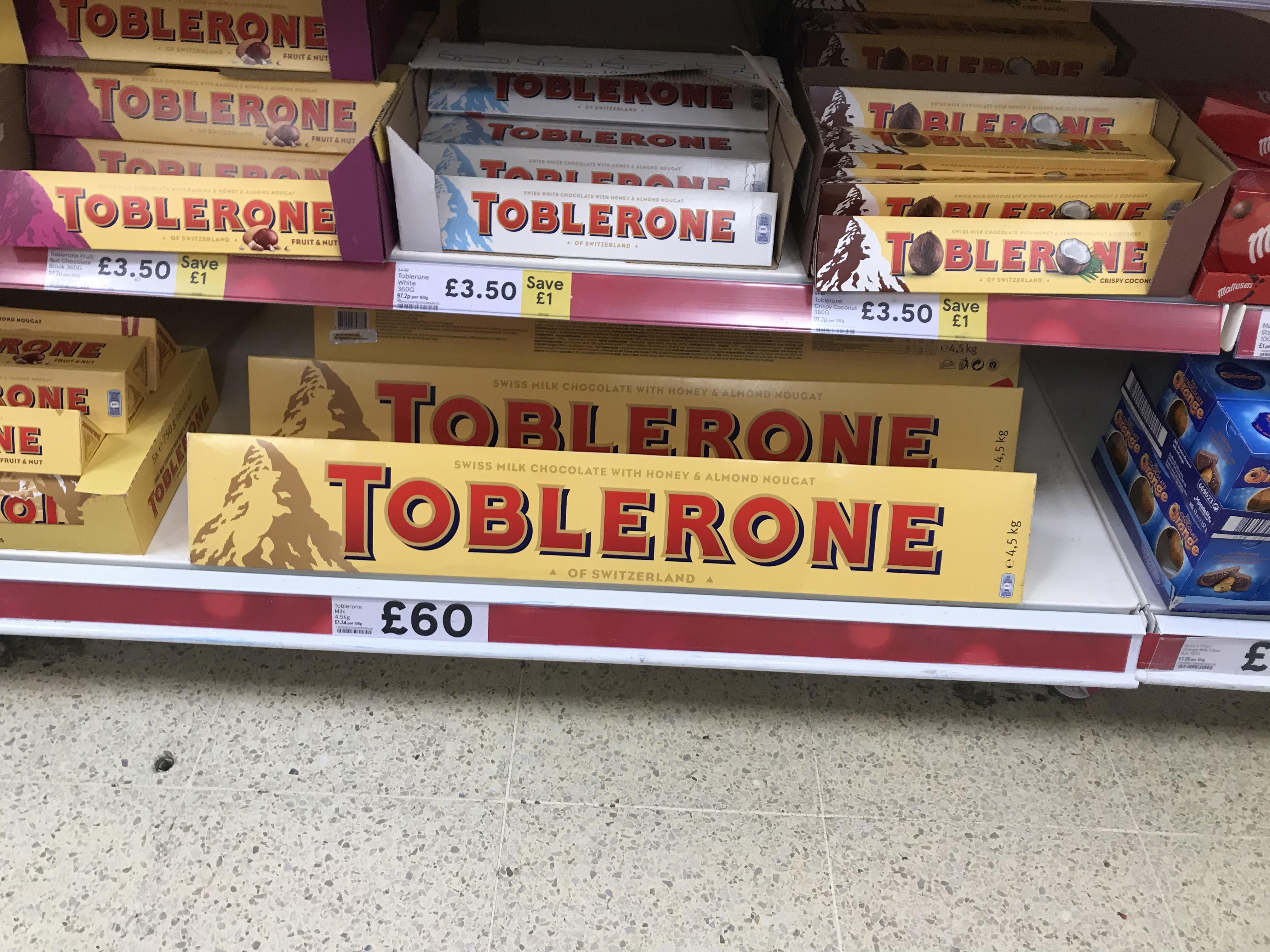 Giant 45kg Toblerone 60 Instore At Tesco Hotukdeals