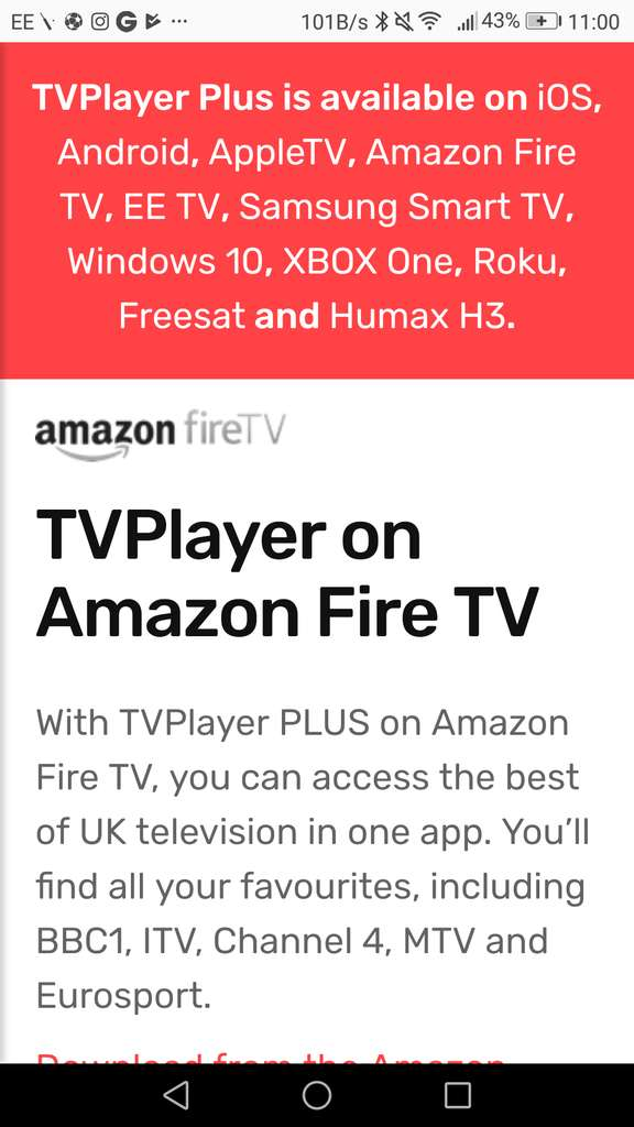 Freeview TV app for Amazon fire stick, Android, Apple