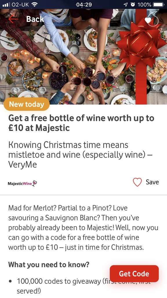 Vodafone very me reward FREE bottle of wine up to £10 from
